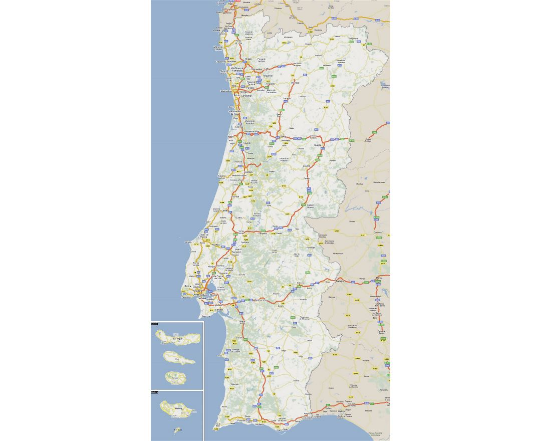Large road map of Portugal with cities