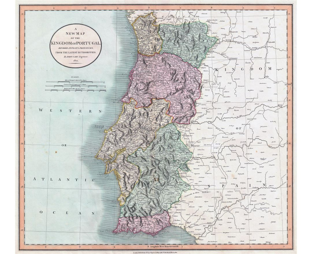 Large scale old political and administrative map of Portugal with relief, roads and cities - 1801