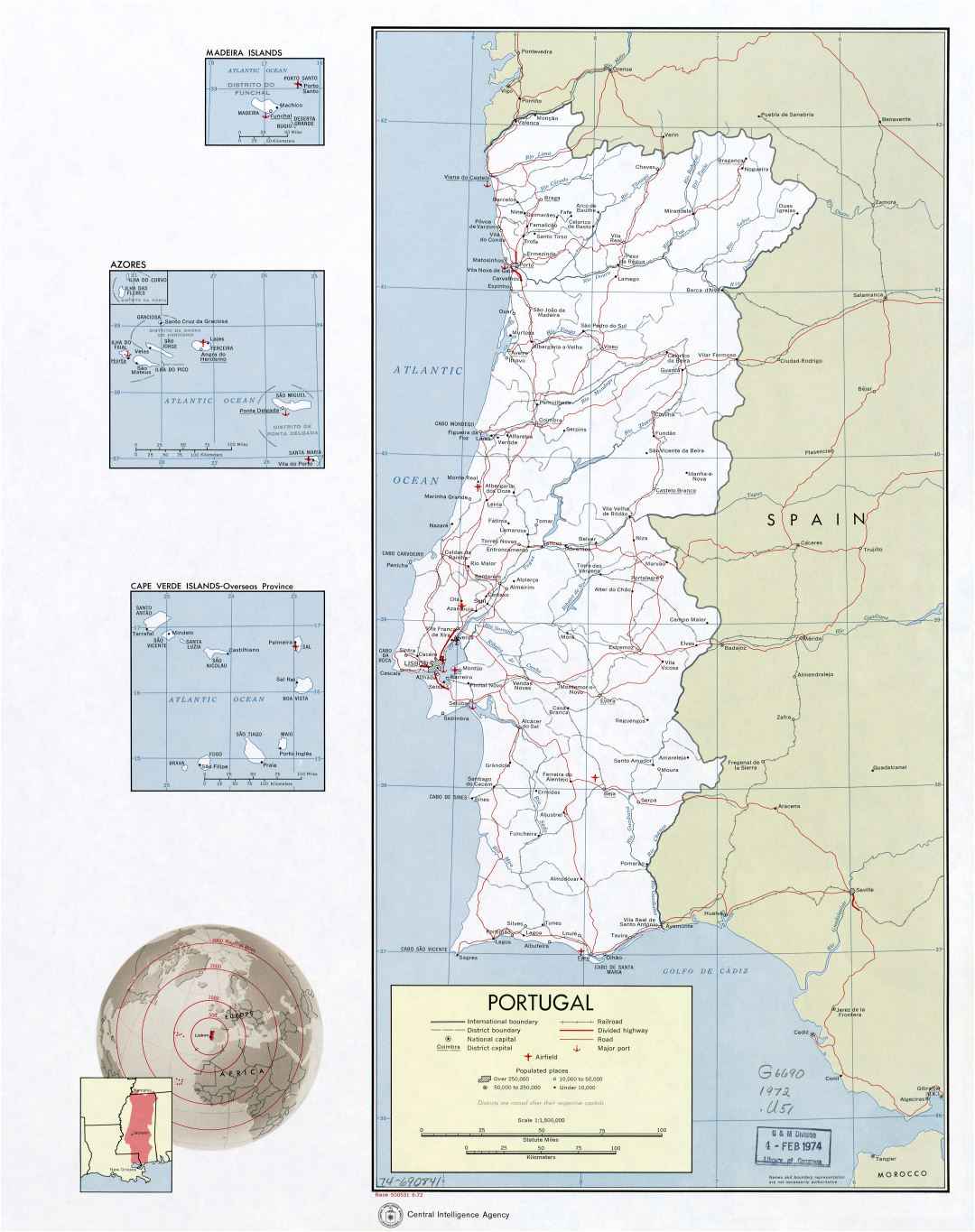 Large scale political and administrative map of Portugal with roads, railroads, major cities, airports and sea ports - 1972