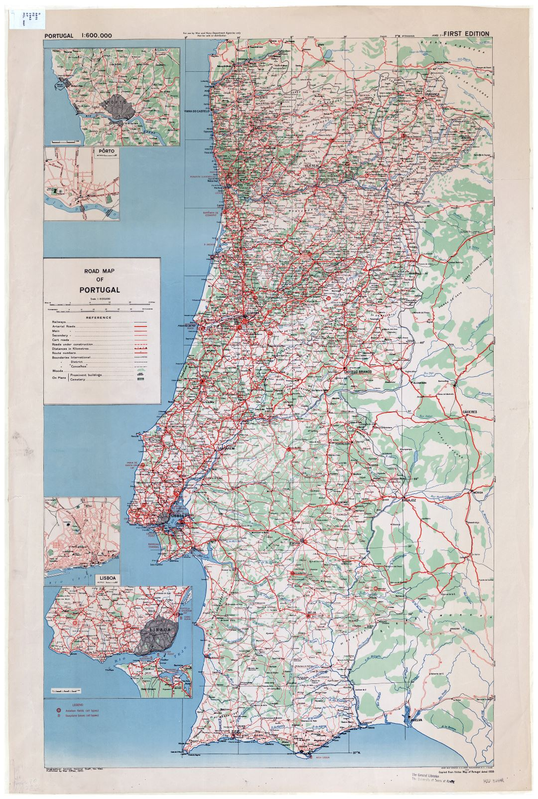 Large scale road map of Portugal with cities, towns and villages - 1943 - 1:600000