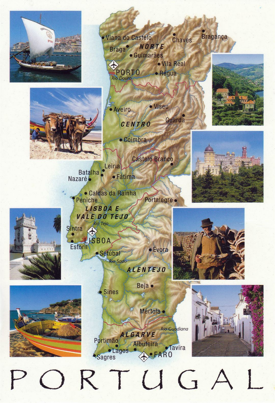 Large tourist map of Portugal with relief, cities and airports