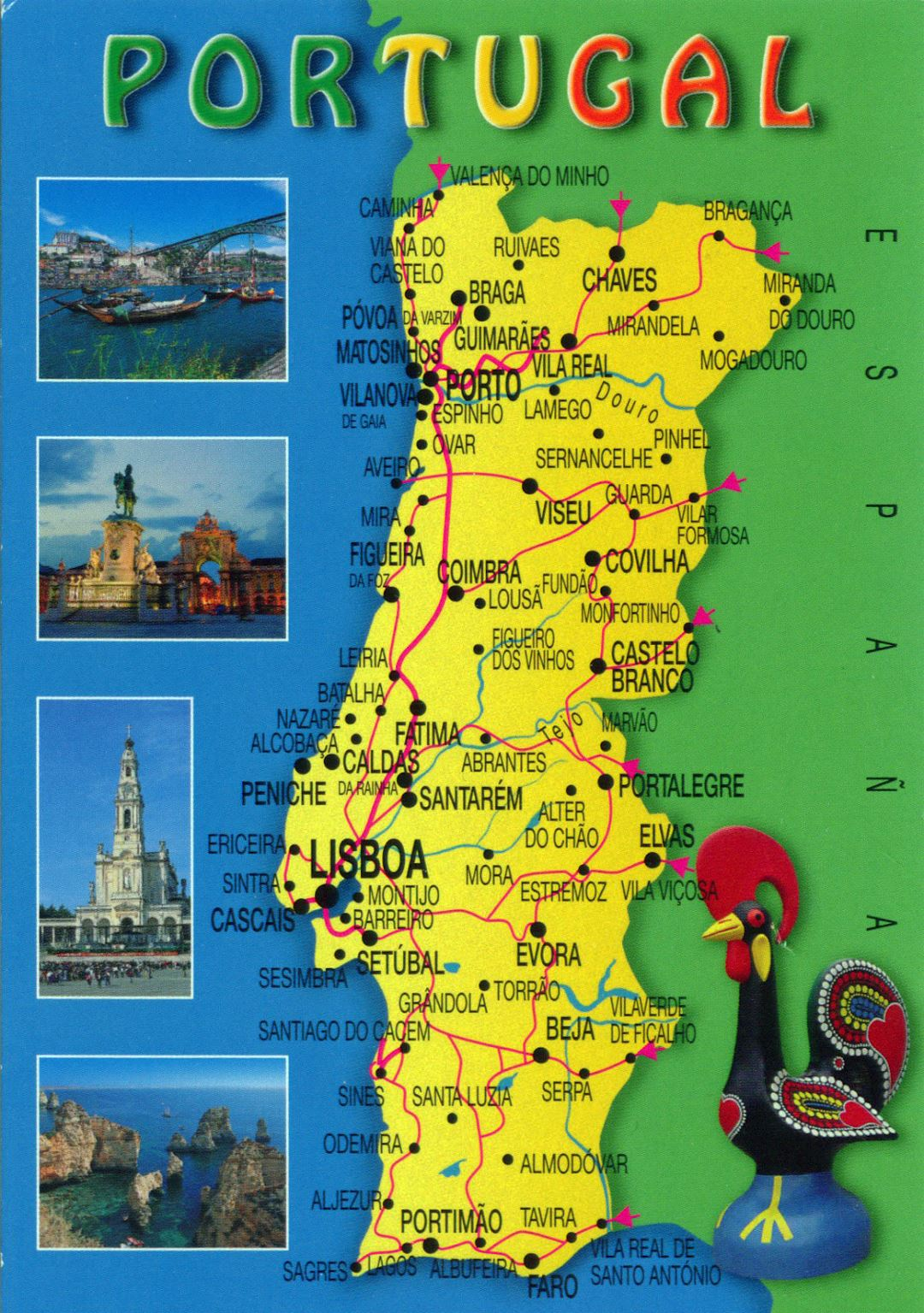 Large tourist map of Portugal with roads and cities
