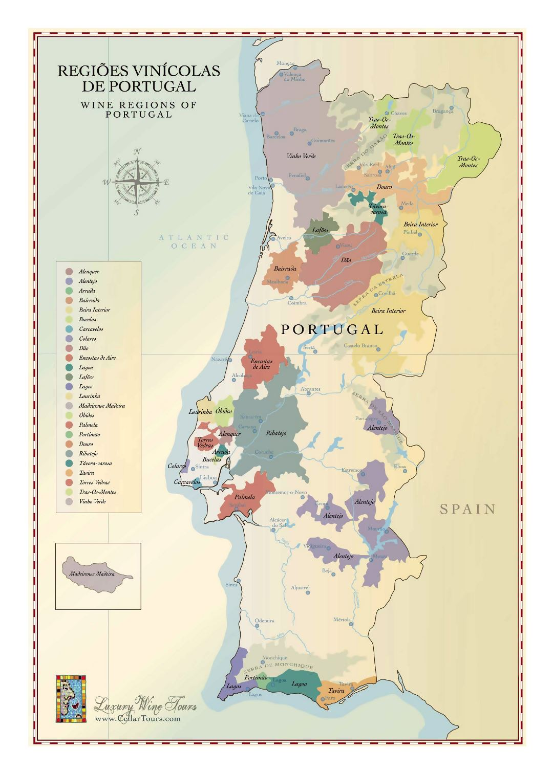 Large wine regions map of Portugal