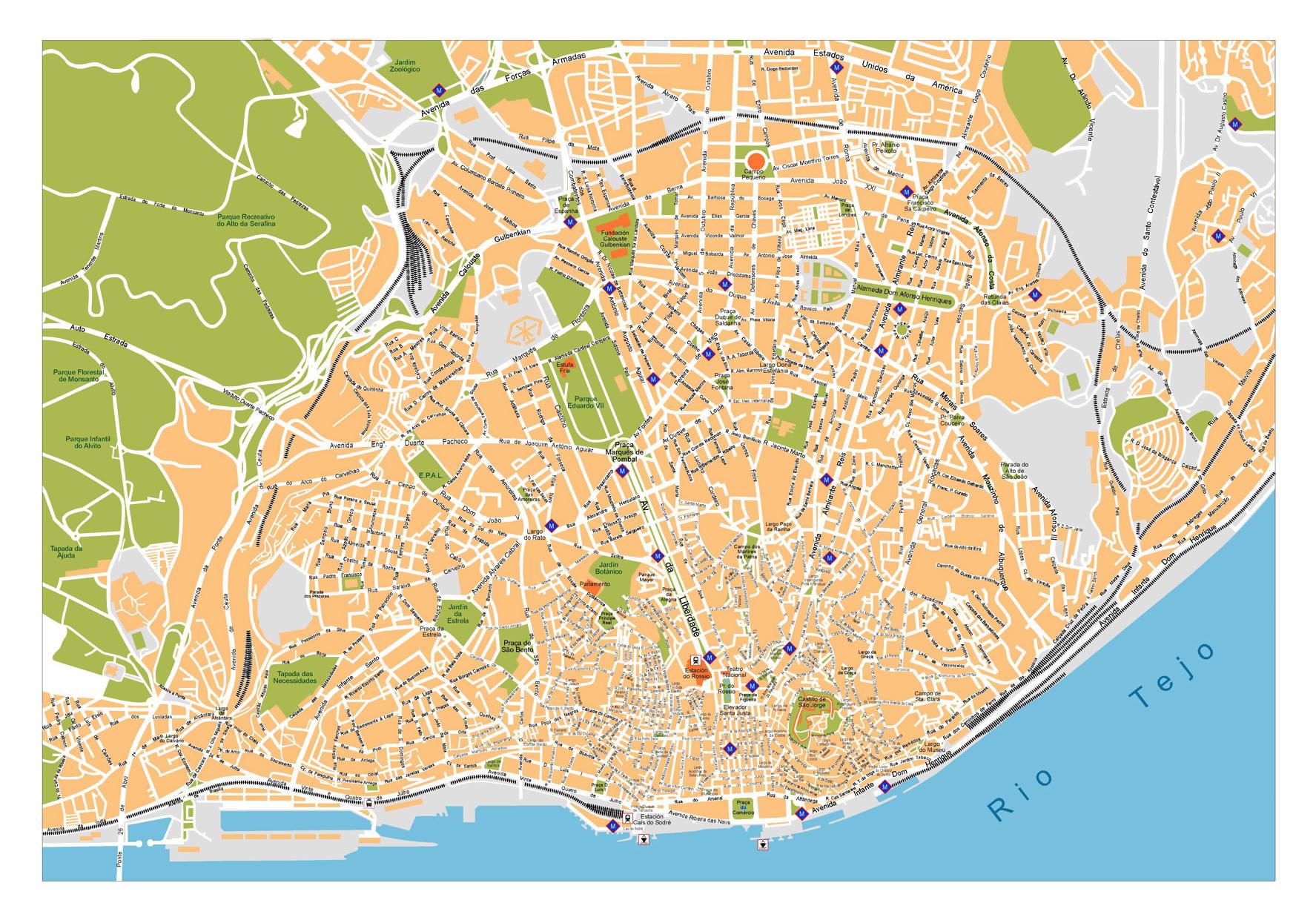 Street map Lisbon Lisboa Portugal