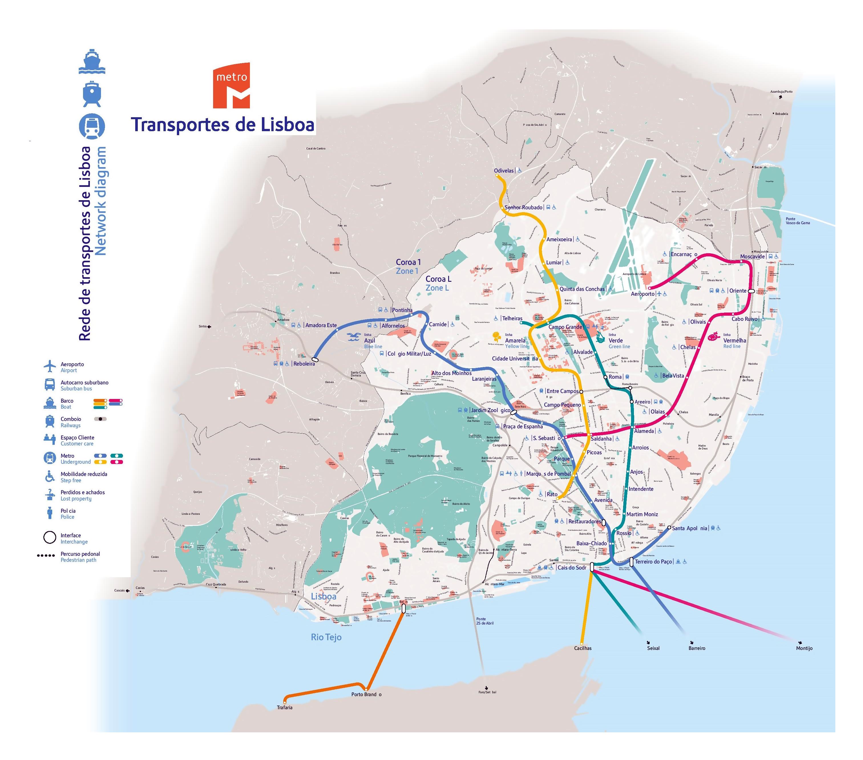 Large Lisbon transport map | Lisbon | Portugal | Europe | Mapsland ...