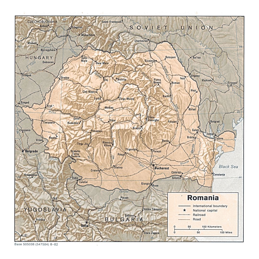Detailed political and administrative map of Romania with relief, roads, railroads and major cities - 1982