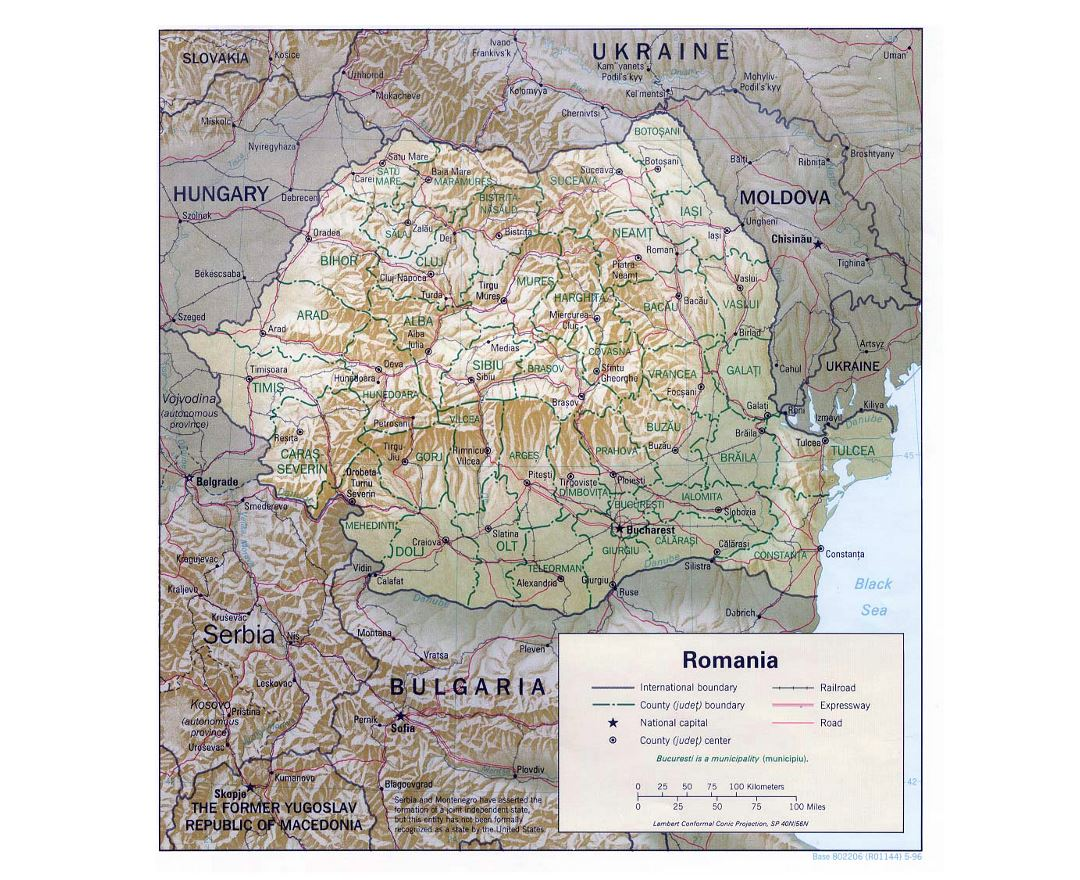 Detailed political and administrative map of Romania with relief, roads, railroads and major cities - 1996