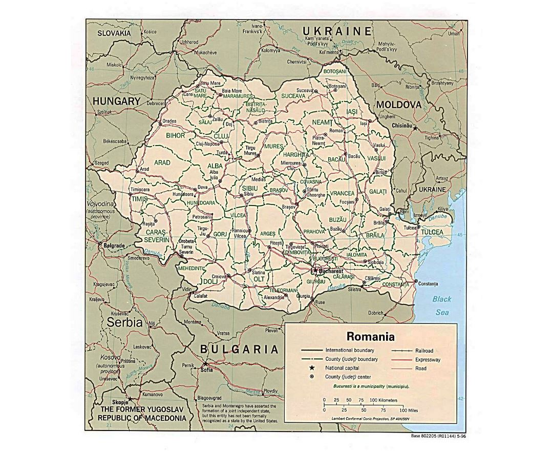Detailed political and administrative map of Romania with roads, railroads and major cities - 1996