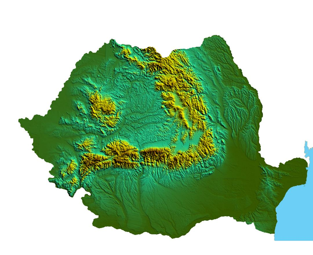 Detailed relief map of Romania