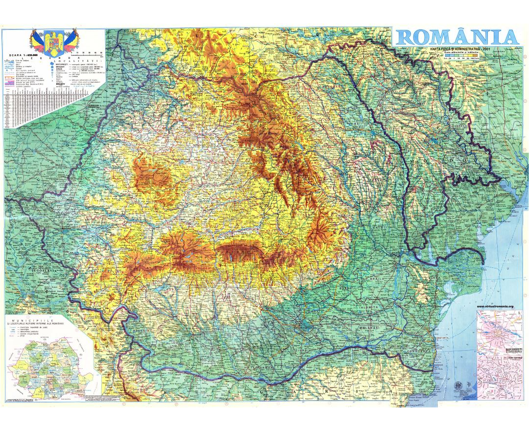 Large detailed map of Romania