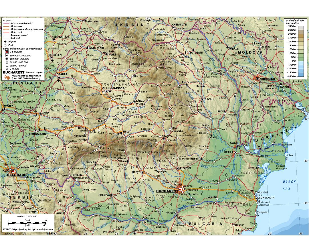 Large detailed physical map of Romania with roads, cities and airports