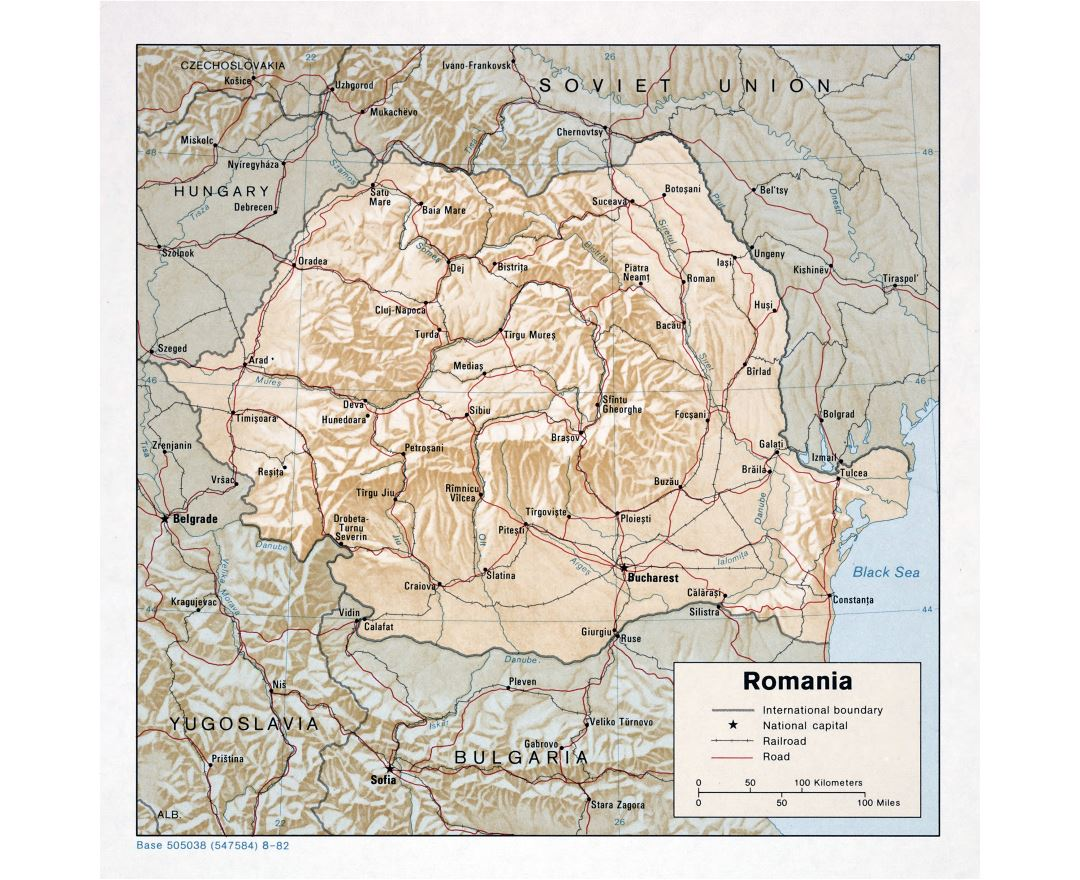 Large detailed political and administrative map of Romania with relief, roads, railroads and major cities - 1982