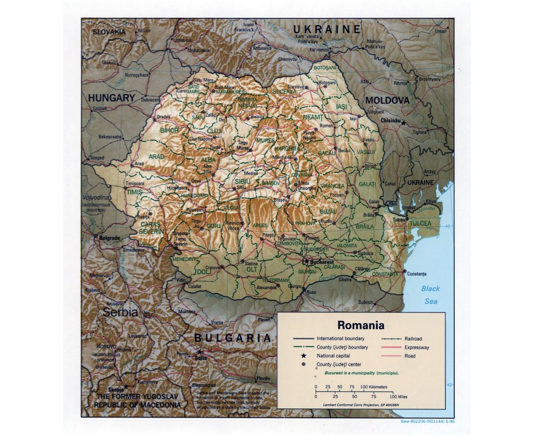 Large detailed political and administrative map of Romania with relief, roads, railroads and major cities - 1996