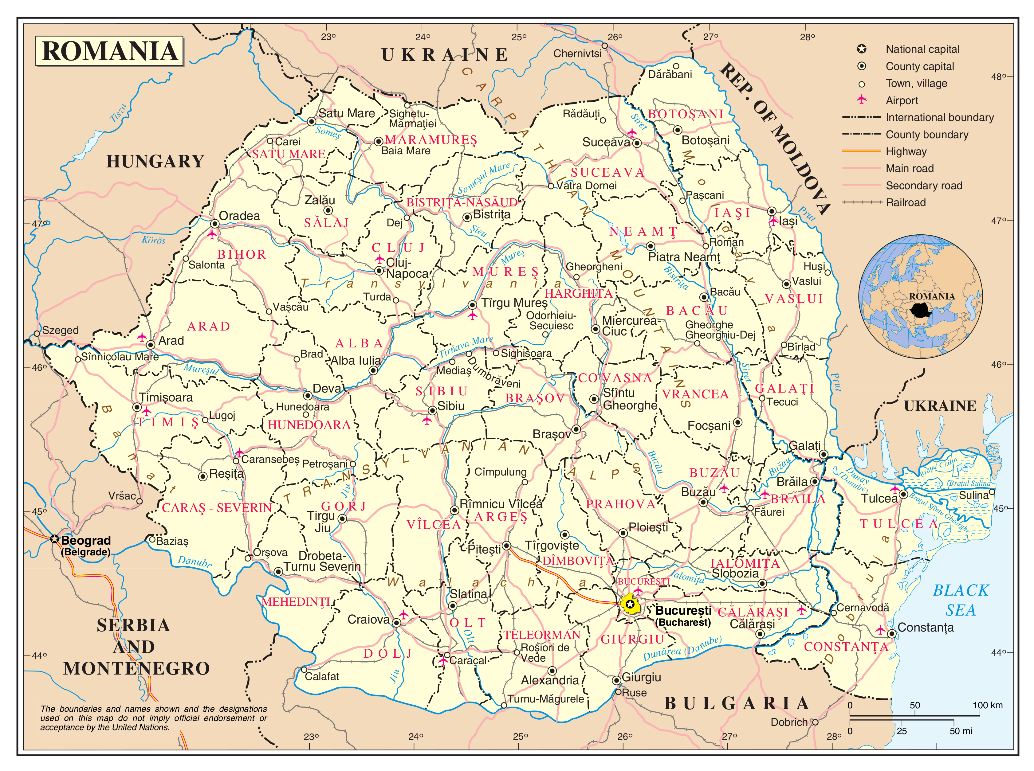 Large detailed political and administrative map of Romania with ...