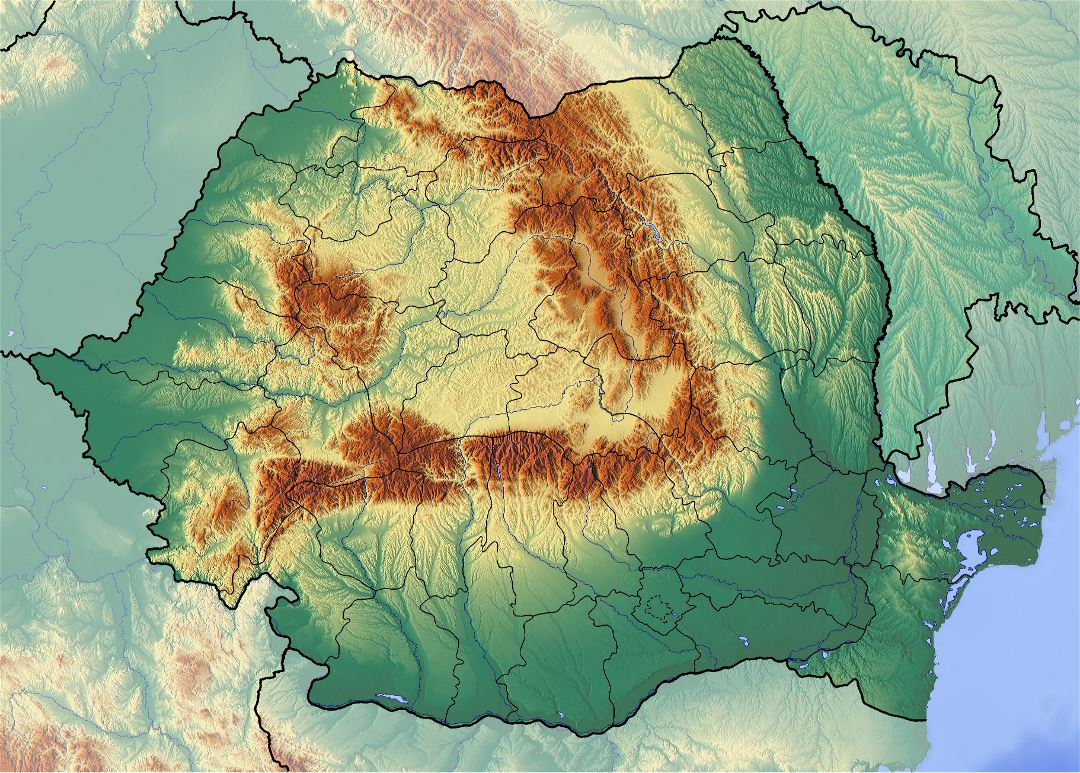 Large detailed relief map of Romania