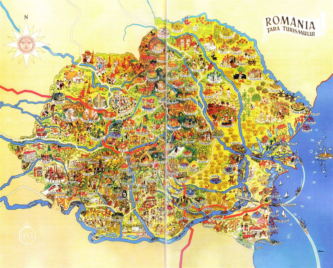 Large detailed tourist illustrated map of Romania