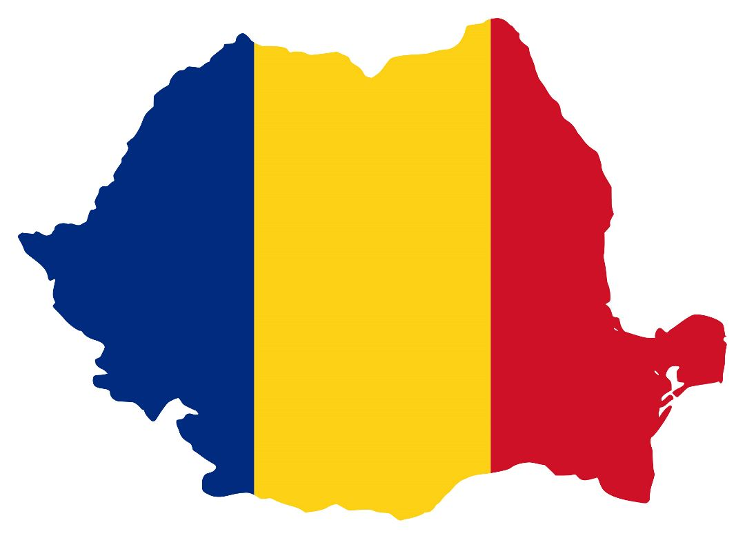 Large flag map of Romania