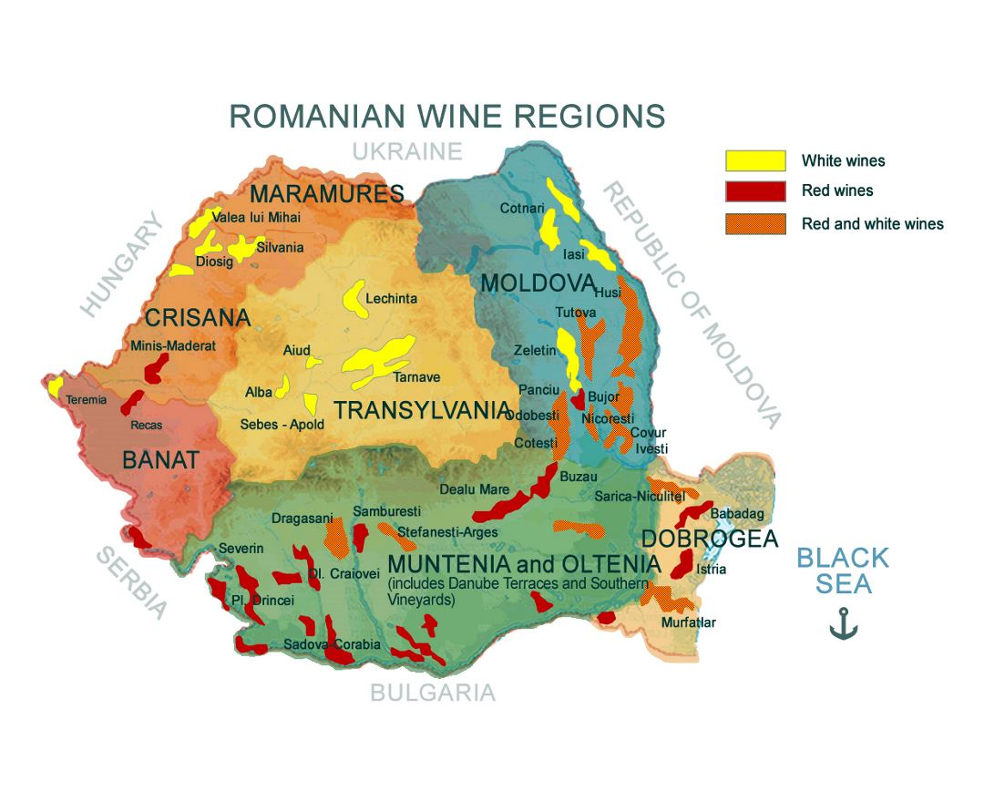 Large map of Romanian wine regions