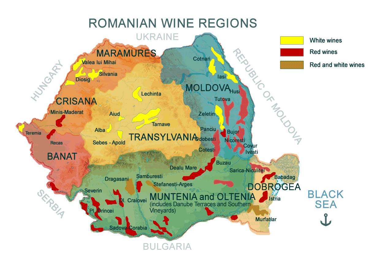 Large map of Romanian wine regions | Romania | Europe ...