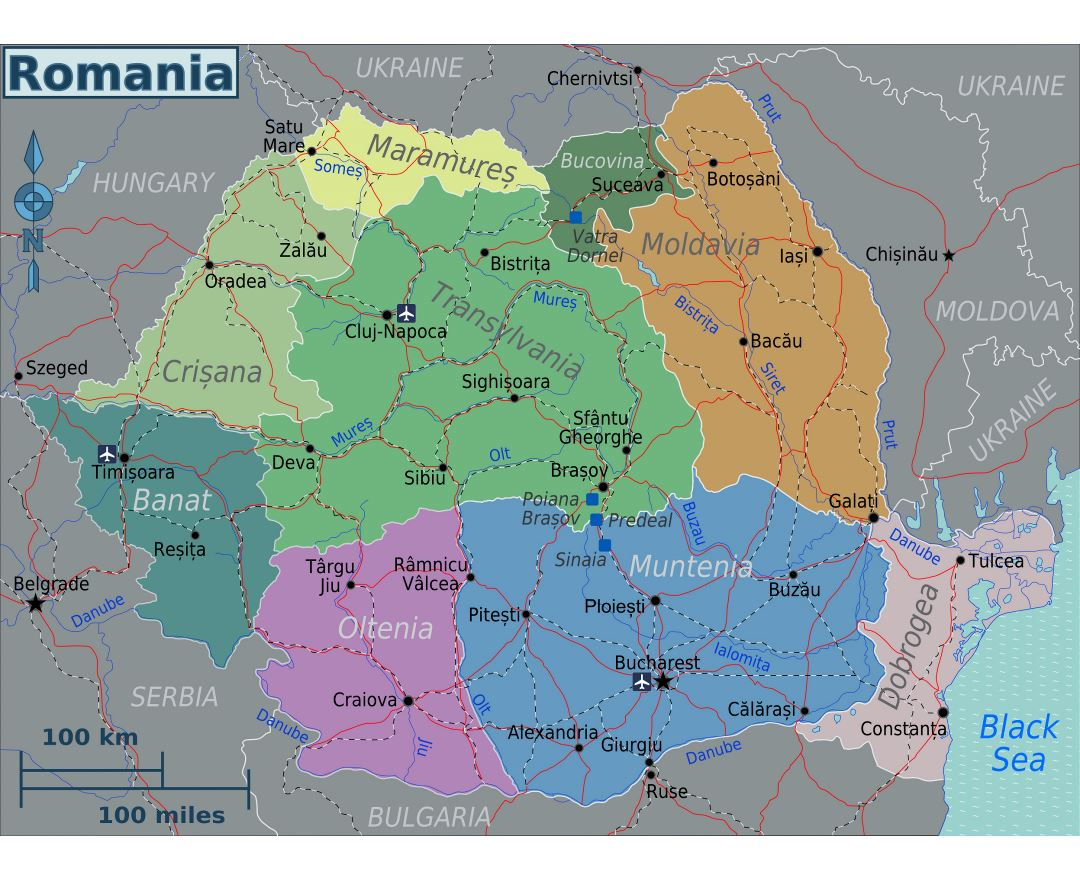 Large regions map of Romania