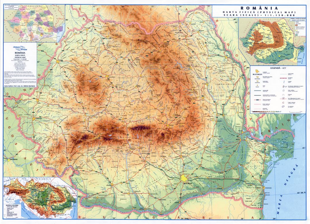 Large scale detailed physical map of Romania with roads, cities and other marks