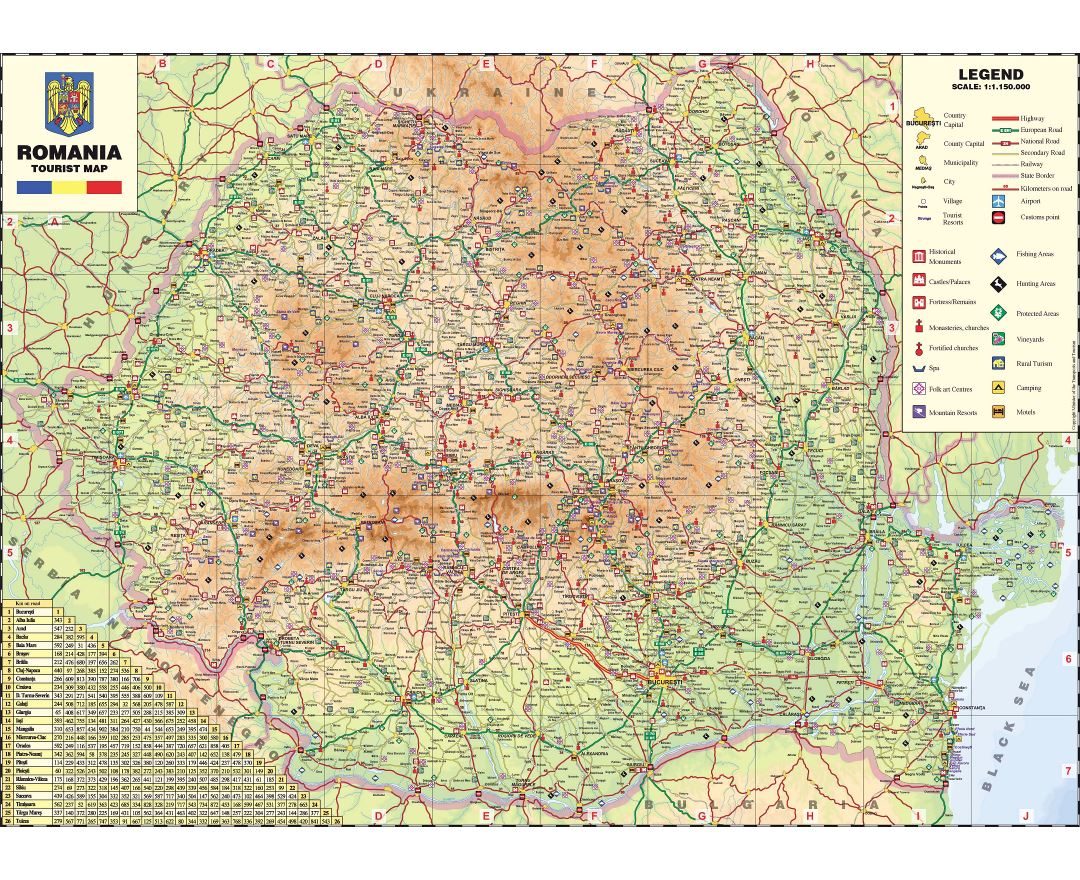 Large scale detailed tourist map of Romania