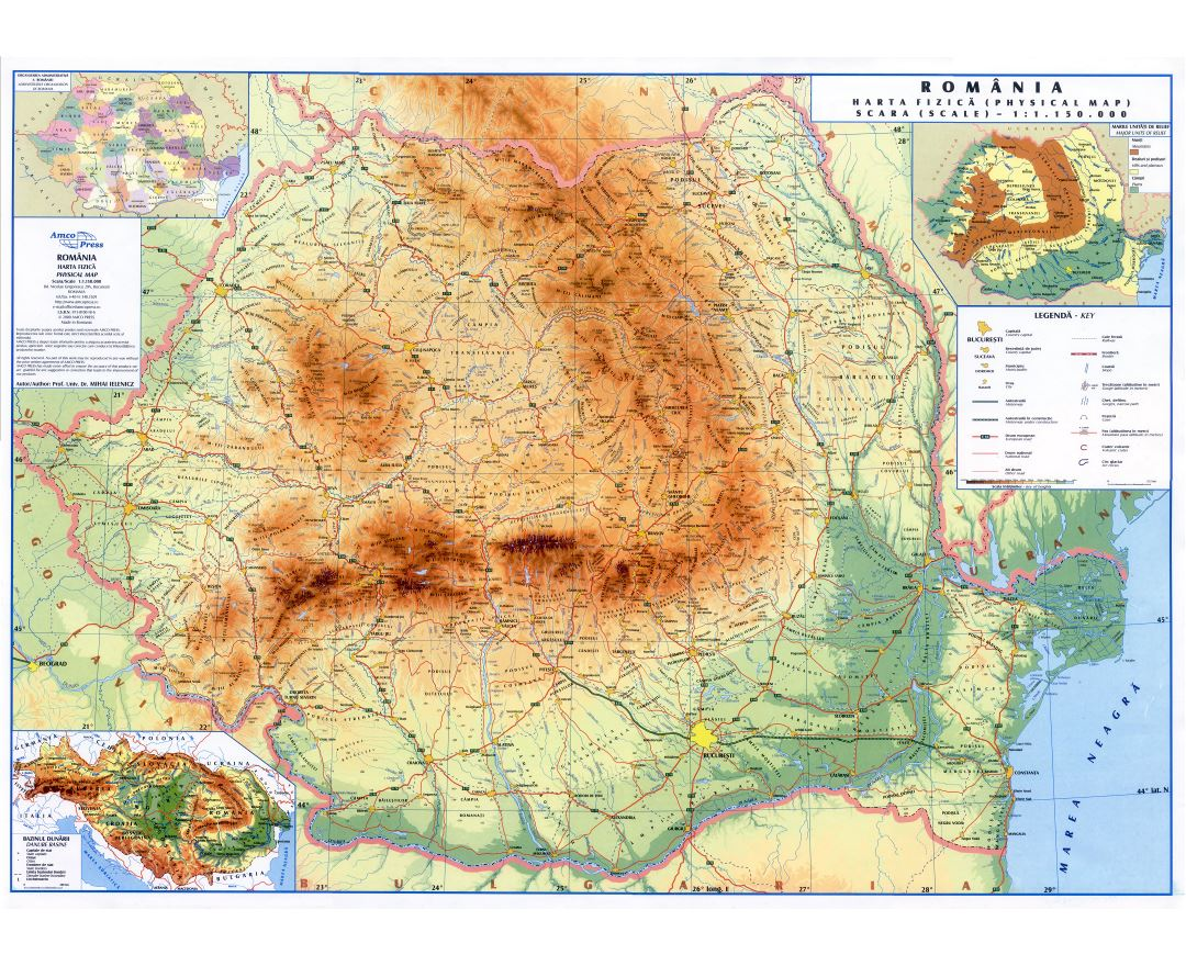 Large scale physical map of Romania