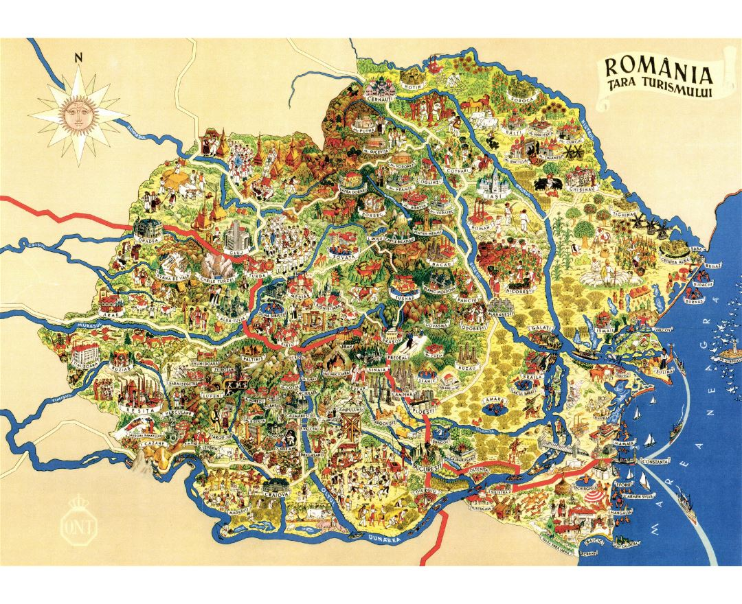 Large scale tourist illustrated map of Romania