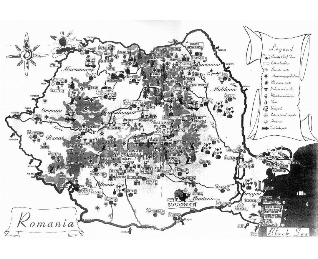 Large tourist map of Romania