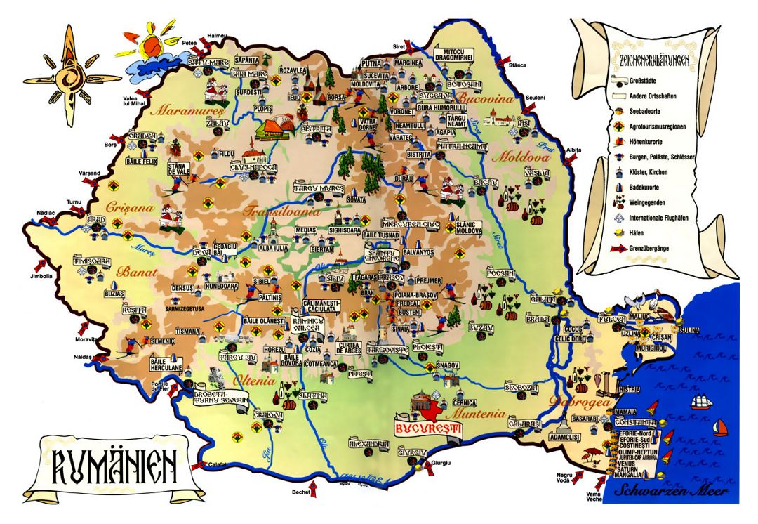 Tourist map of Romania