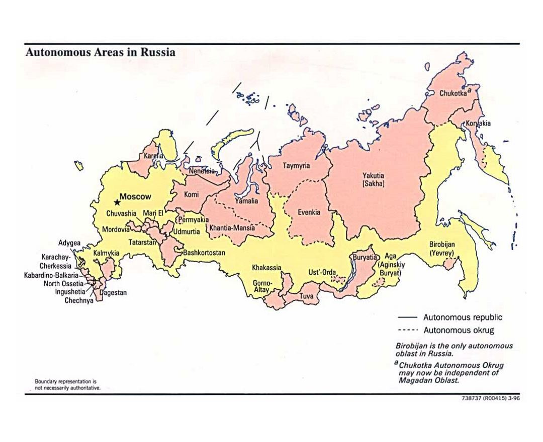 Detailed map of Autonomous Areas in Russia - 1996