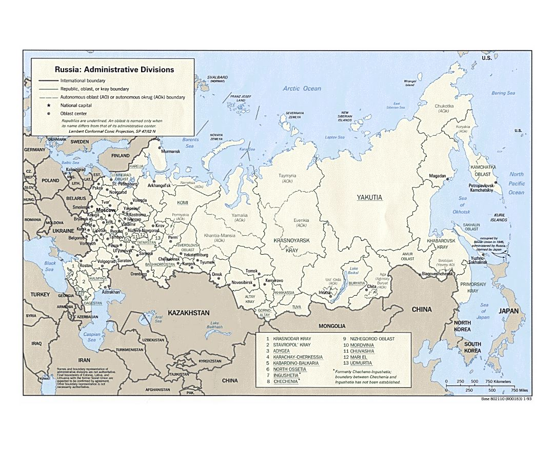 Large administrative divisions map of Russia - 1993
