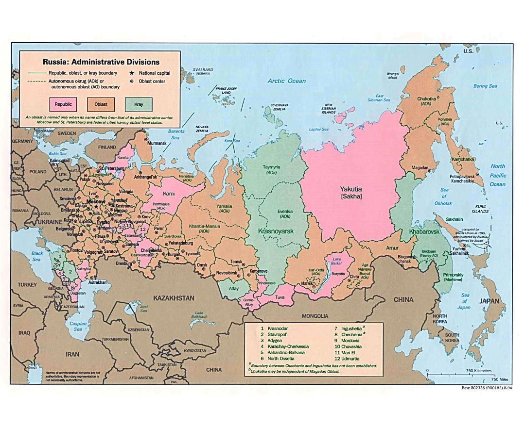 Large administrative divisions map of Russia - 1994