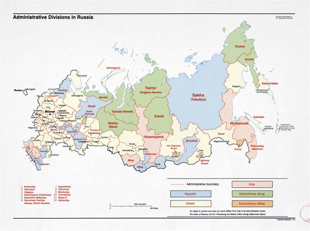 Large detailed administrative divisions map of Russia - 1997