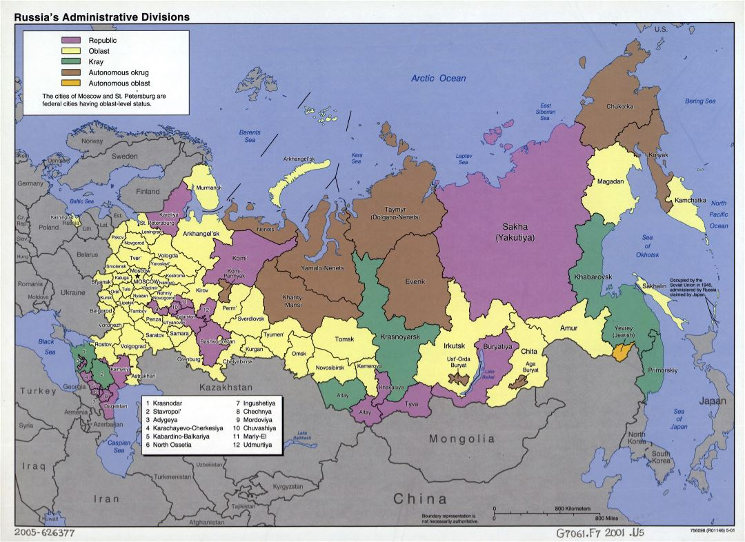 Large detailed administrative divisions map of Russia - 2001