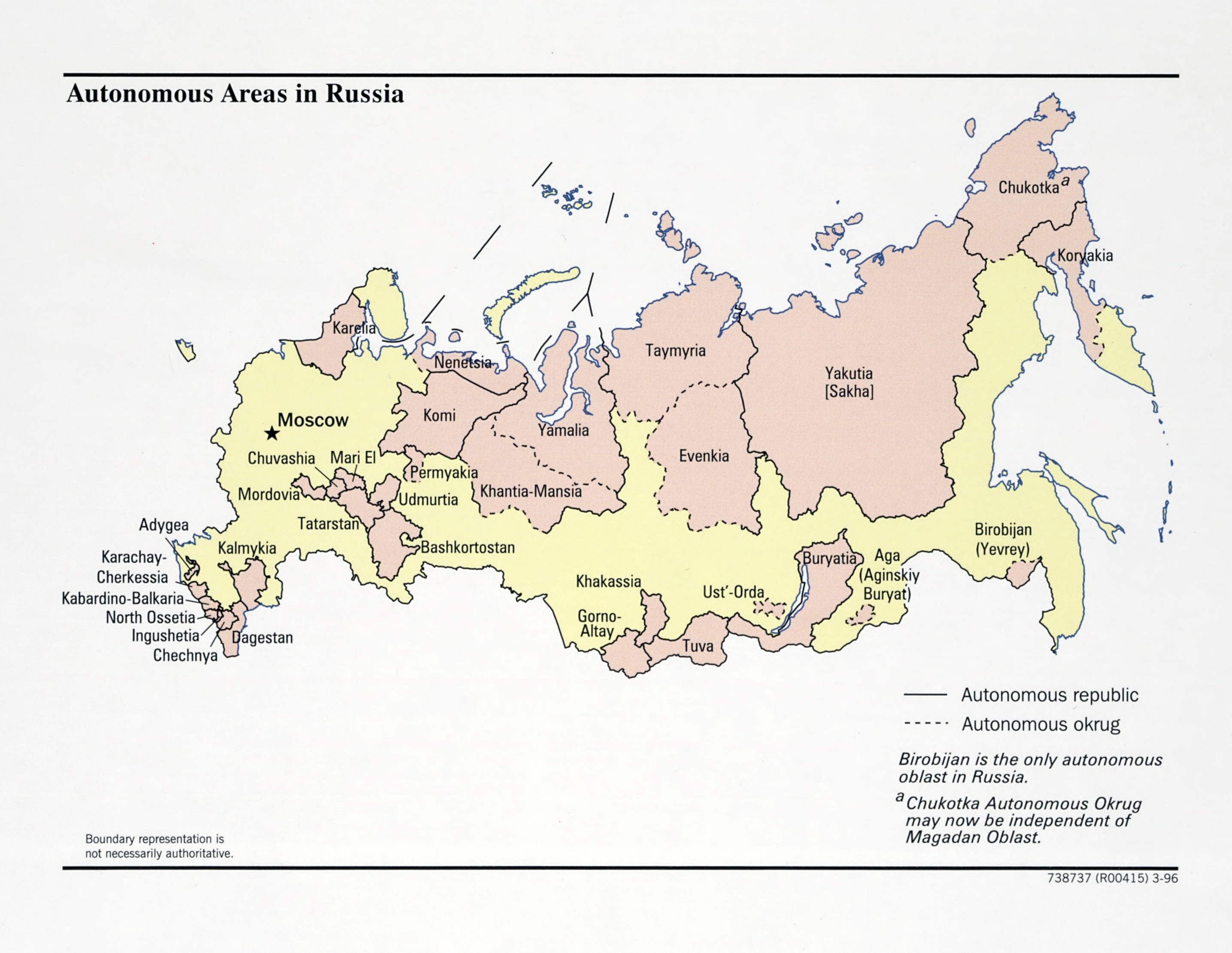 Large detailed map of Autonomous Areas of Russia 1996 Russia