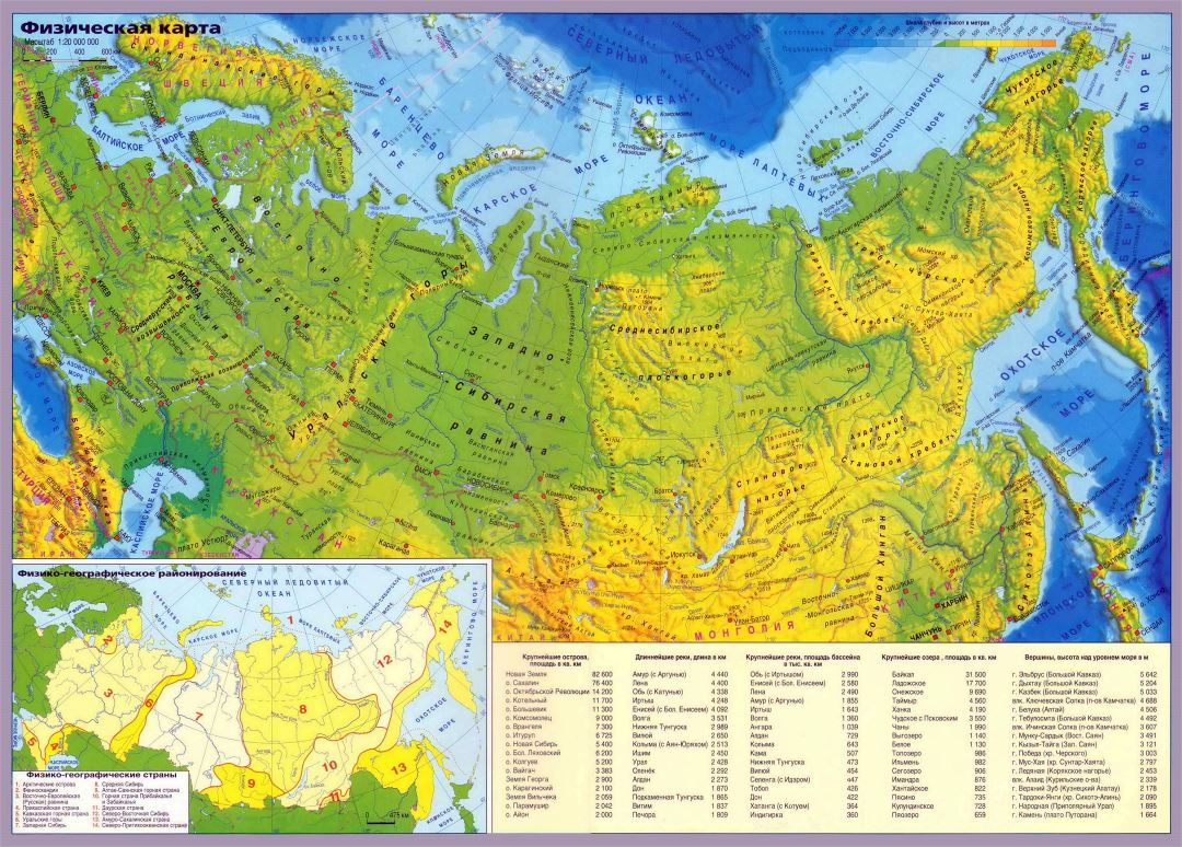 Large detailed physical map of Russia with cities in russian