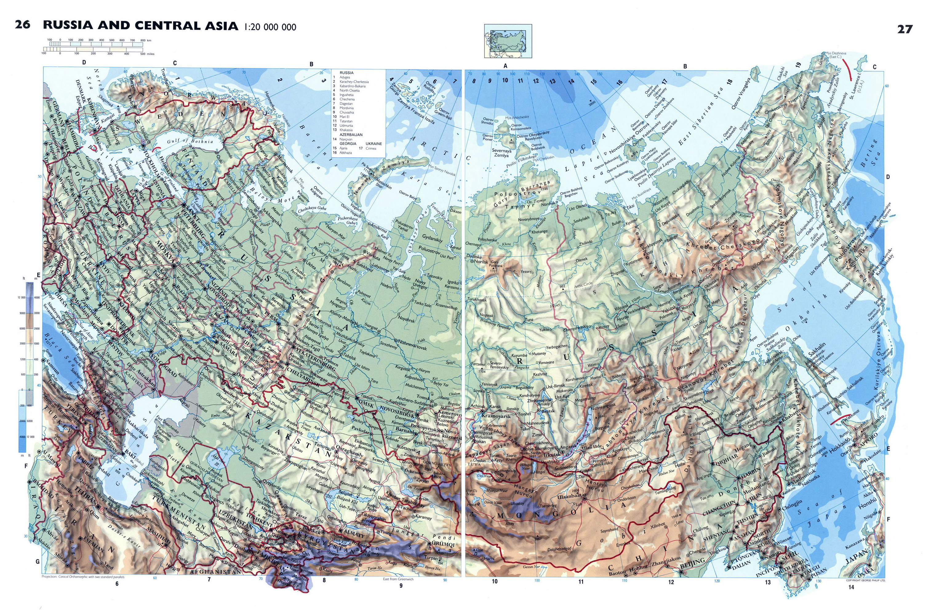 Large detailed physical map of Russia Russia Europe Mapsland
