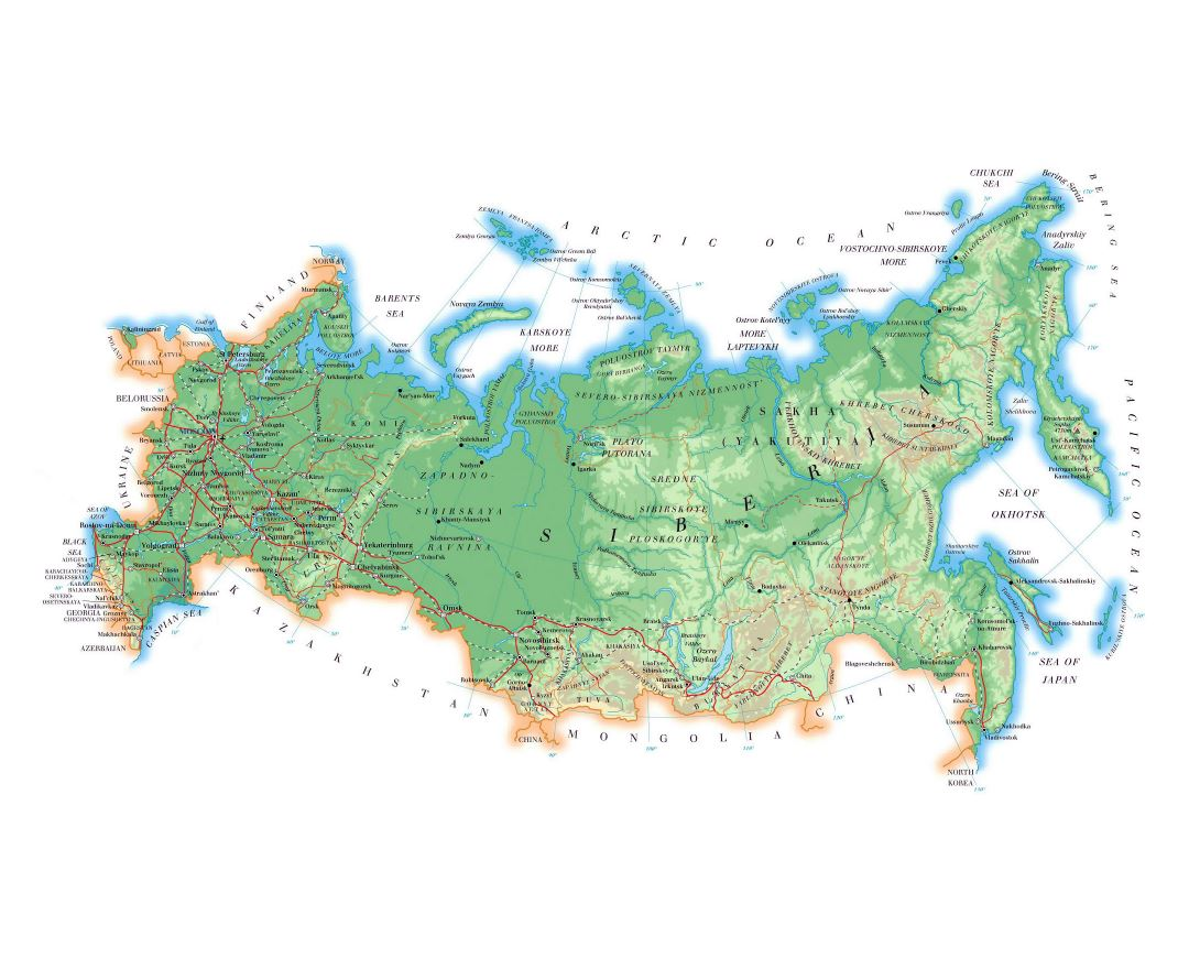 Large elevation map of Russia with roads, major cities and airports