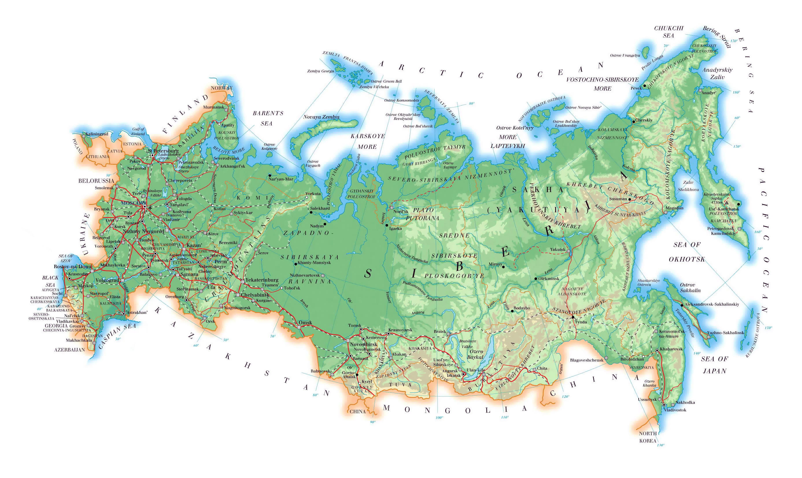 large elevation map of russia with roads major cities and airports