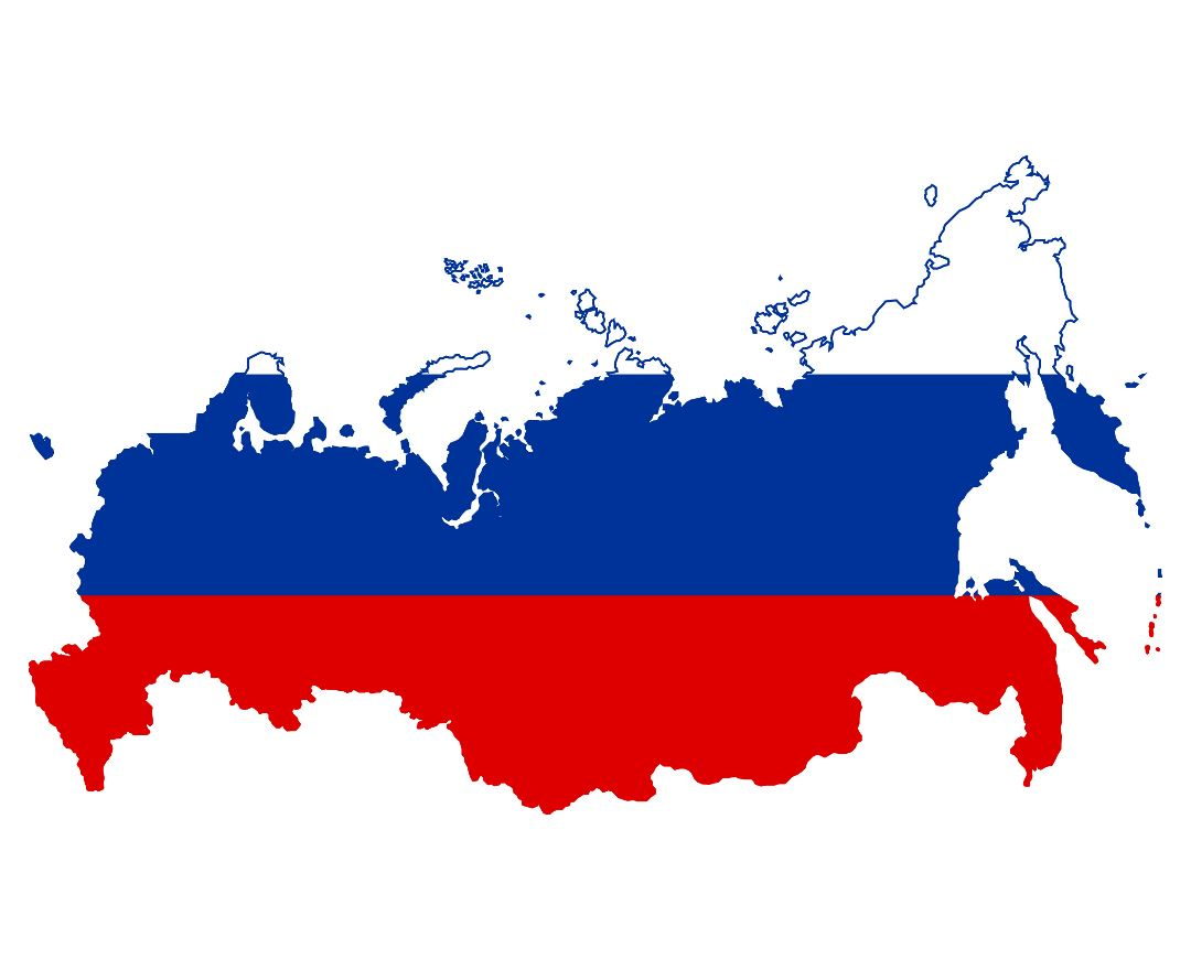 Large flag map of Russia
