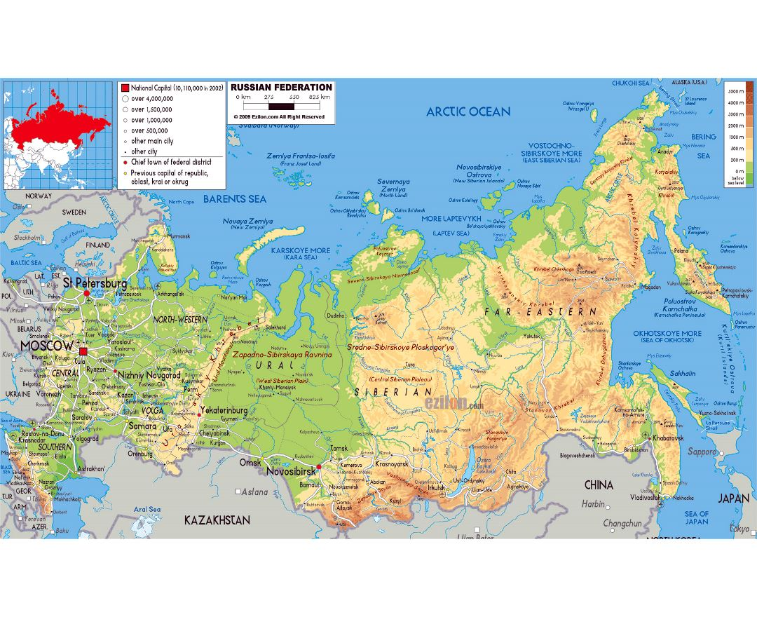 Maps Of Russia Detailed Map Of Russia In English And Russian - Physical map of russia