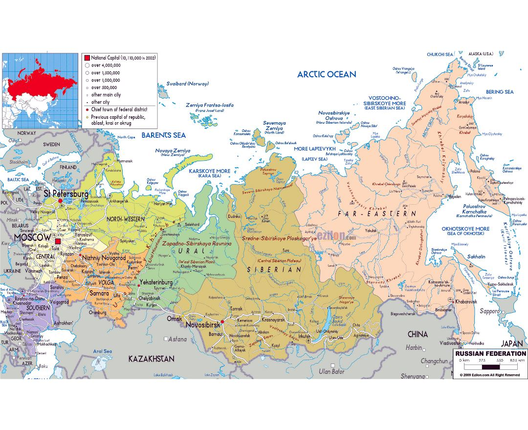 Maps of Russia | Detailed map of Russia in English and Russian ...