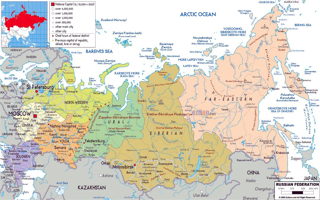 Large political and administrative map of Russia with roads, cities and airports