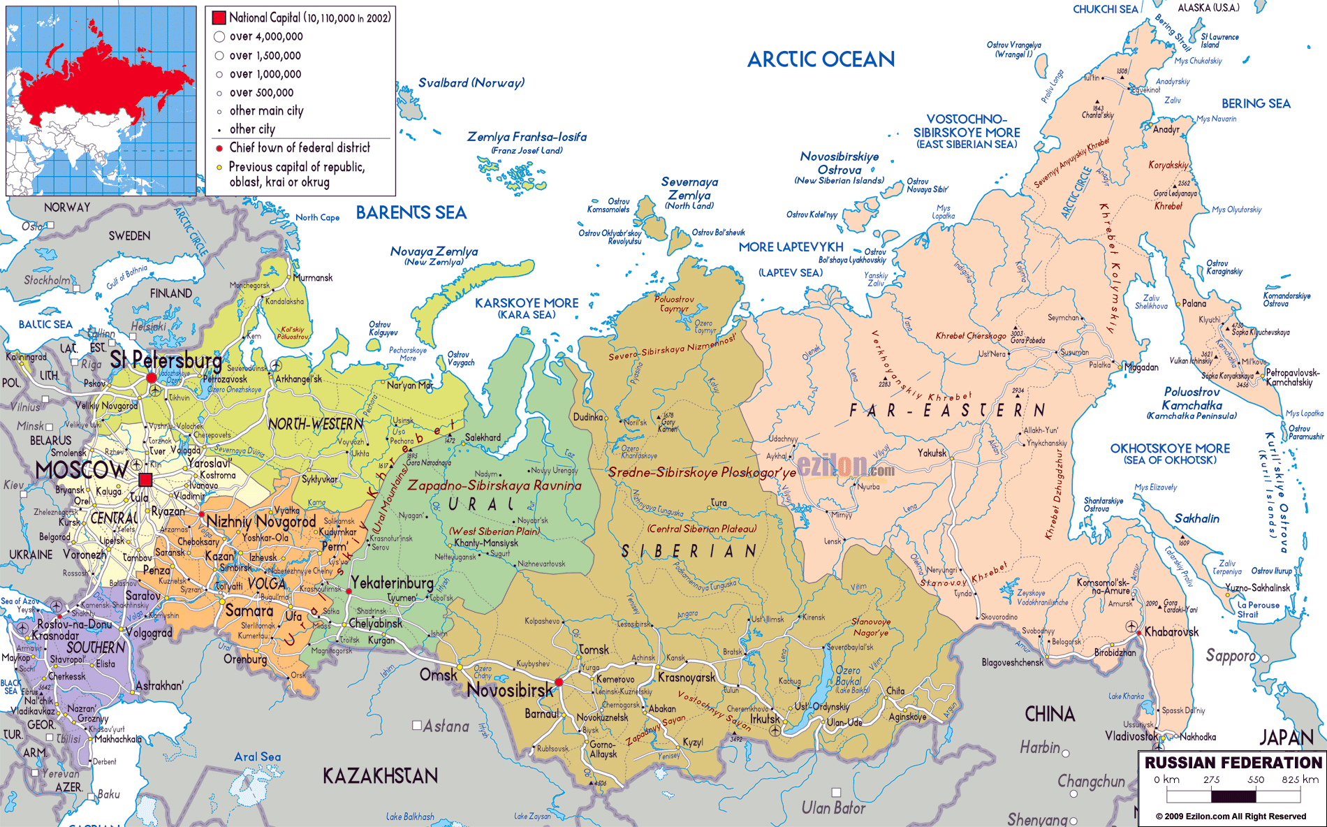 large political and administrative map of russia with roads cities and airports