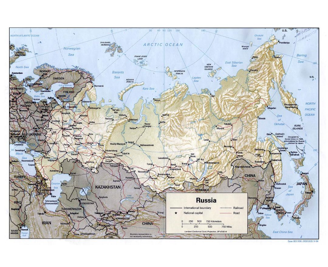 Large political map of Russia with relief, roads, railroads and major cities - 1994
