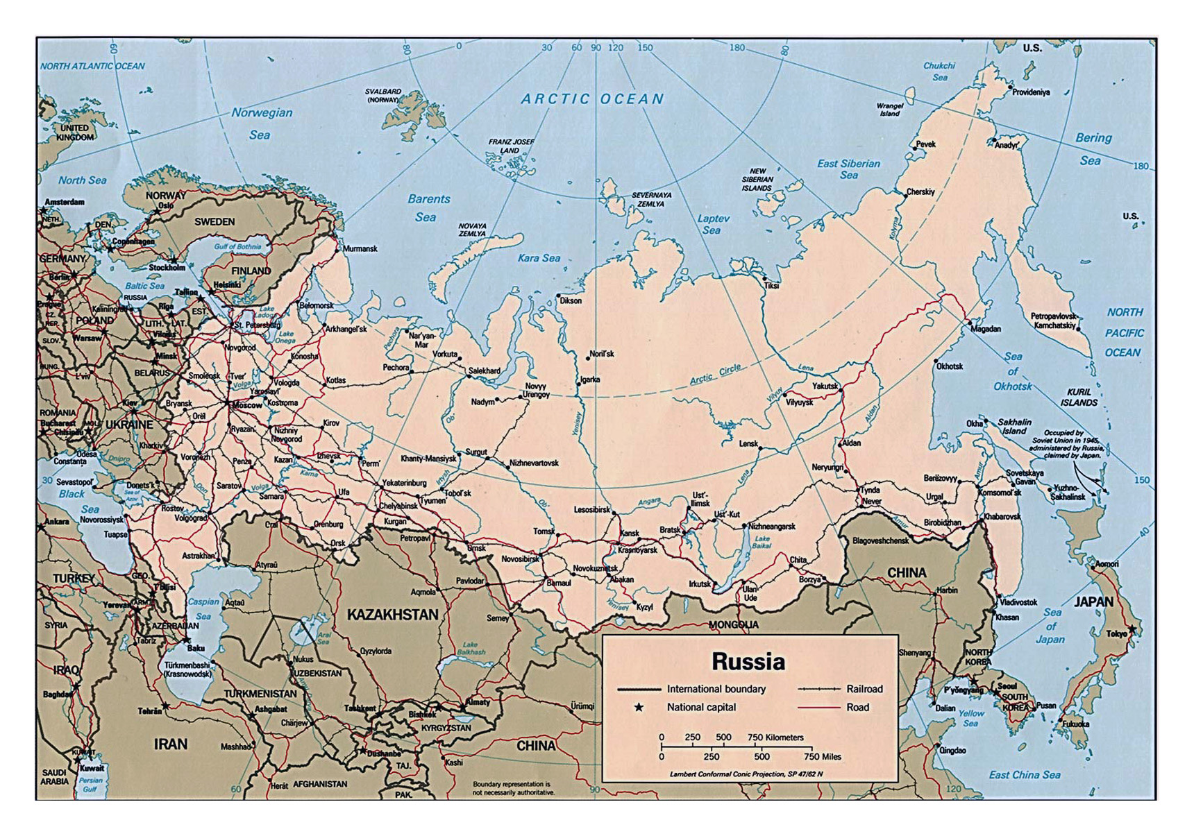 Large political map of Russia with roads railroads and major cities