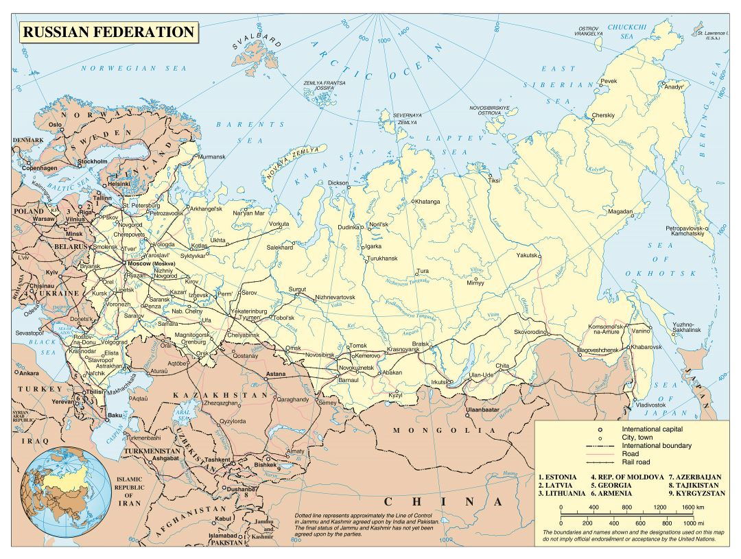 Large political map of Russia with roads, railroads and major cities