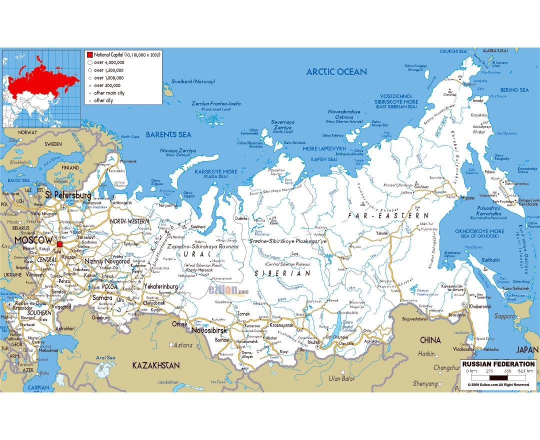 Maps Of Russia Detailed Map Of Russia In English And Russian - Map of russia with cities