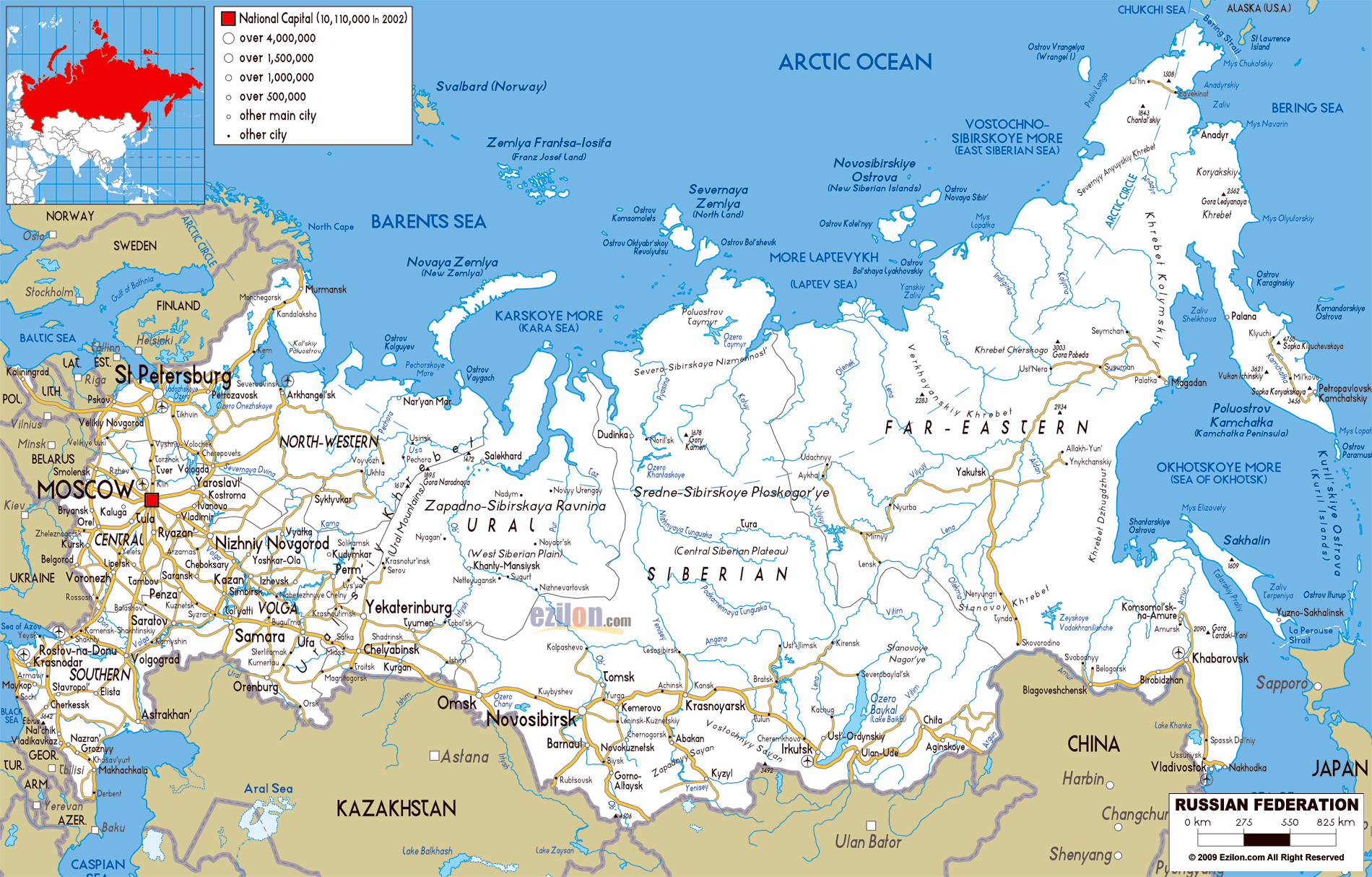 Large road map of Russia with cities and airports Russia Europe